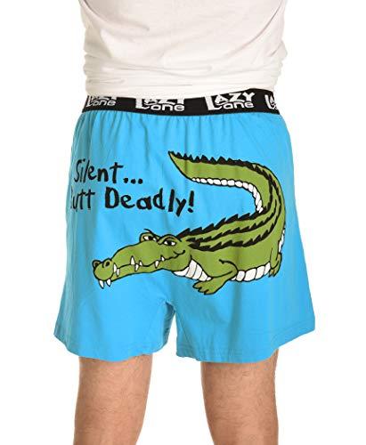 Silent But Deadly Gator Soft Comical Boxers for Men by LazyOne | Animal Pun Joke Underwear for Guys (Medium)