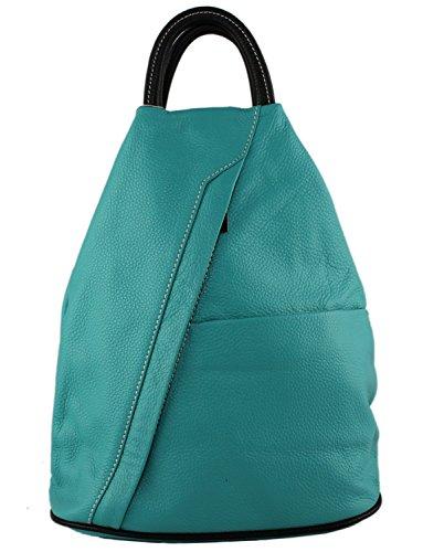 Bag Black Daypack Rucksack Backpack Handbag School Cavalieri Moda Italian Daniela and Turquoise Leather 7xn8wZHR