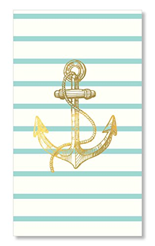 - C.R. Gibson White, Teal and Gold Nautical Anchor Table Napkins and Guest Towels 16pc, 4.75'' W x 8'' L
