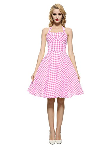 Maggie Tang 50s Vintage Halterneck Swing Rockabilly Party Dress Pink Check M ()