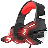 #3: VersionTech Stereo Gaming Headset for PS4 Xbox One, Over Ear Headphones with Noise Isolating Mic, LED Light, Volume Control for Laptop, PC, Tablet, iMac, PSP, Mobile Phone -Red