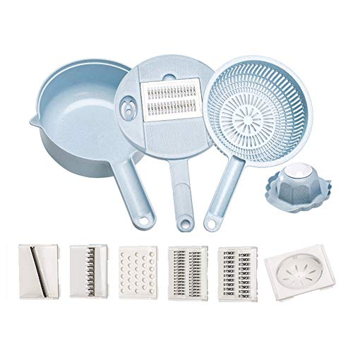 - Stainless Steel Handheld Grater Shredder Multi-function Round Vegetable Chopper with Drain Basket Egg Separator Kitchen Gadget Kit