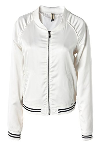 [Wantdo Women's Classic Bomber Flight Zipper Jacket(White,X-Small)] (Pirate Coat For Sale)