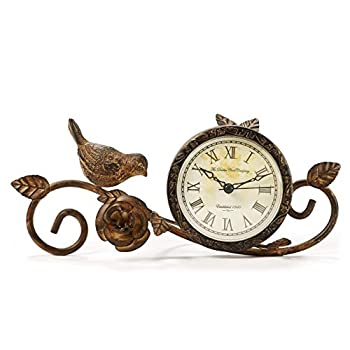 Gift Craft Metal Table Clock with Bird, Shabby Chic Style