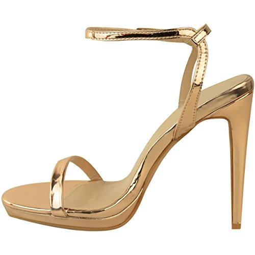 Moda Sete Donne Stiletto Sandali Tacchi Alti Appena Là Partito Piattaforma Scarpe Dimensioni Oro Rosa Metallizzato