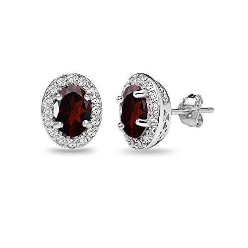 Sterling Silver Garnet & White Topaz Oval Halo Stud Earrings with White Topaz Accents
