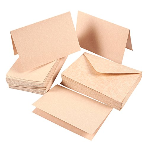 Fold Letter Envelope - Set of 48 A4 Invitation Envelopes and 4 x 6 Blank Greeting Card Paper ¡V Aged Style Parchment Paper Envelopes and Greeting Cards ¡V Vintage style Half-Fold Greeting Cards with Envelopes