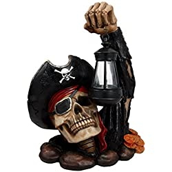 Ebros Caribbean Pirate Captain Hook Skull With Solar Powered Lantern LED Light Patio Decor Figurine Statue