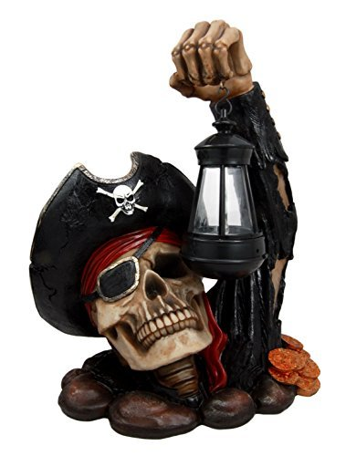 Ebros Caribbean Pirate Captain Hook Skull With Solar Powered Lantern LED Light Patio Decor Figurine Statue (House Hooks Caribbean)