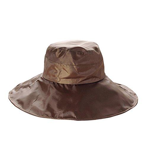 Women's Rain Hats Waterproof Rain Hat Wide Brim Bucket Hat Rain Cap Sun Hats (Brown)