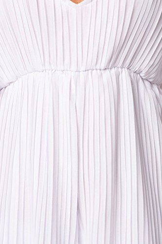 Jumpsuit plissiertem plástico–Pantalón Rock de Look–Femenino hombro Recorte–a14567 blanco