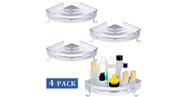 Amazon.com: Brobery 4 Packs Bathroom Corner Shower Shelf, No ...