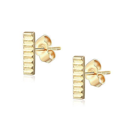 Sterling Silver Hammered Bar Stud Earrings 14K Yellow Gold (Yellow Gold Hammered Earrings)