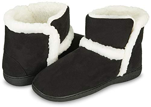 Floopi Womens Indoor Outdoor Bootie Slipper - Sherpa Fur Lined Clog W/Memory Foam (S, ()