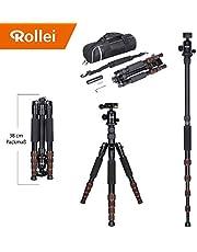 Trípode Rollei Traveler con rótula de Bola - Compatible con cámaras DSLR y DSLM - Incl. monopie, Placa de liberación rápida Arca Swiss y Bolsa para trípode