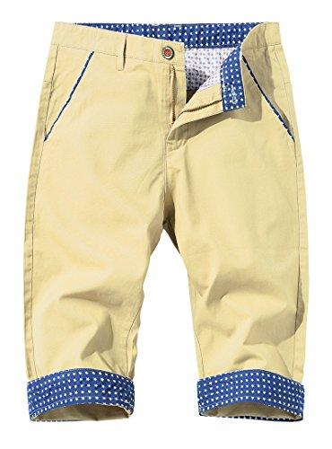 Nature lovers Mens Flat Front Shorts Slim Fit Cotton Golf Short 3319 US 32/Asian 32 Khaki