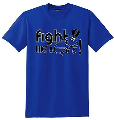 Fight Like a Girl Signature Arthritis, Colon Cancer, Rectal Cancer Awareness Unisex T-Shirt - Blue [L]
