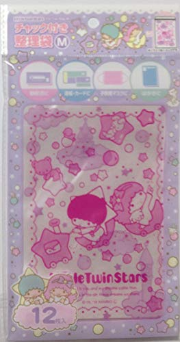 FRIEND Sanrio Little Twin Stars Zip Top Poly Bags M Size 12×17cm 12sheets Organizing Bags (Soap)