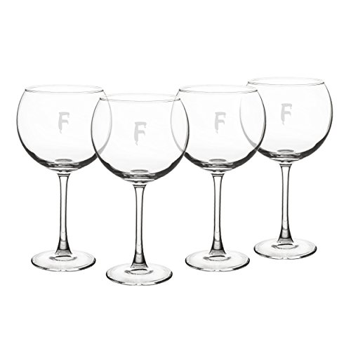 Cathy's Concepts Personalized Spooky Red Wine Glasses, Set of 4, Letter -