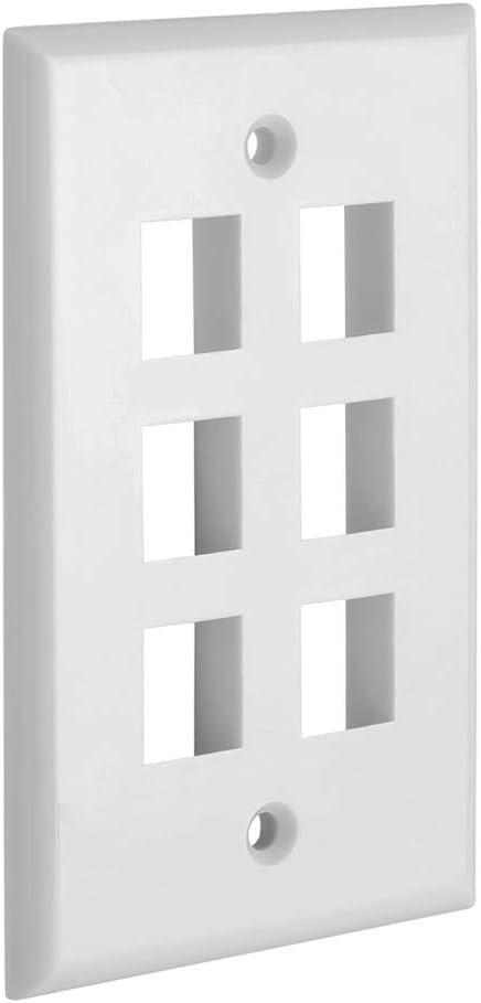 Cmple - 6 Port Keystone Wall Plate Single-Gang Wall Plate with Standard Size Keystone Jack Insert - White