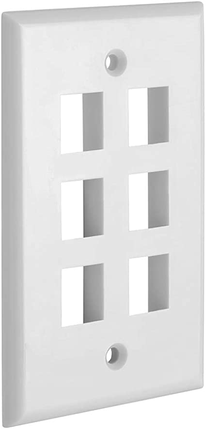 Single Gang Data Wall Plate with 6 Keystone Ports White for audio video Six