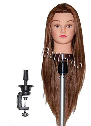 Bellrino 30 (Long and thick) Cosmetology Mannequin Manikin Training Head with Synthetic Fiber with Table Clamp Holder (RITA+C)