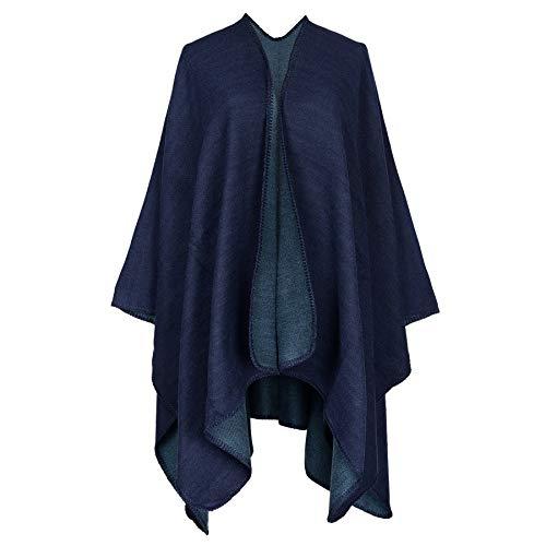 Women's Dinner Party Cloak Bridal Hoodie Shawl Wraps Cloak Coat Tassel Plaid shawl scarf (Blue)