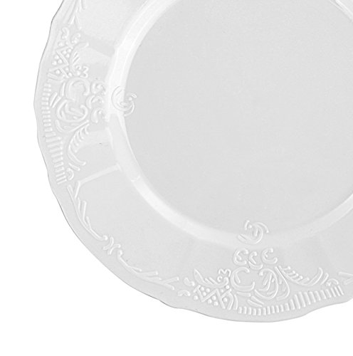 Disposable Wedding Plates with Embossed Flowers Design - Real China Look Plastic Dinnerware Party Plates, Hard and Reusable (18 Piece Pack - White - Scalloped - 10 Inch Round)
