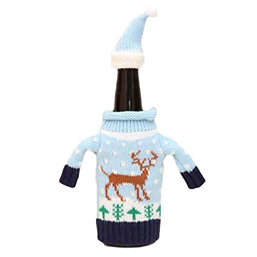 Oh Christmas Weave - Christmas Bottle Cover Bag Knitted Wine Sweaters Cover Dress with Hat Set of 4 PCS