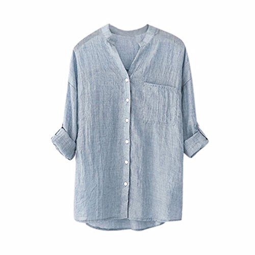 (Women's Shirts, FORUU Ladies Long Sleeve Pocket Button Casual Solid Tops Blouses)