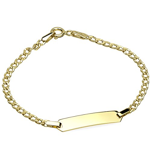 Jewelry by Debbie 14k Yellow Gold 2.5mm Curb Pave Baby ID Bracelet Engravable 6