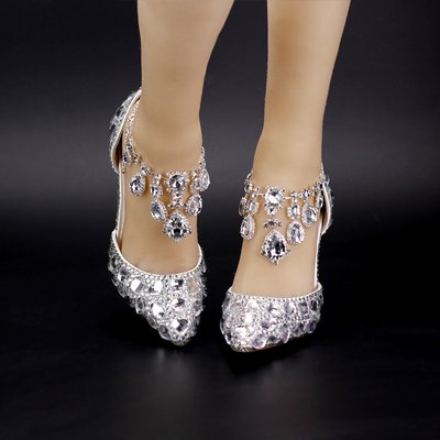 Heel Crystal 4 Bride'S Elegant Diamond Bowl Sandals Rhinestone Shoes Female Shoes Sandals VIVIOO Pumps Silver Wedding High Prom 9Cm Shoes Heels 9Cm Red PBfn1w
