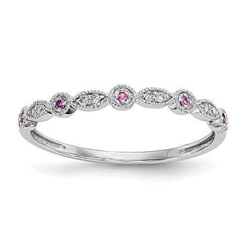 ICE CARATS 14k White Gold Diamond Pink Sapphire Band Ring Size 6.75 Gemstone Fine Jewelry Gift Set For Women Heart (Stone Set Pink Diamond)
