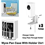 Wyze Cam Pan Wall Mount Bracket with Protective Case,Silicone Protective Flexible Cover for Wyze Camera Glare UV Protection,Dustproof Stable and Beautiful(3pack) Not Including Camera