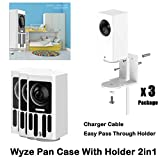 Wyze Cam Pan Wall Mount Bracket with Protective Case,Silicone Protective Flexible Cover for Wyze Camera Glare UV Protection,Dustproof Waterproof Stable and Beautiful (3 Pack)