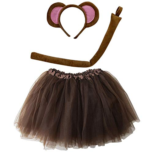 So Sydney Kids Teen Adult Plus 2-3 Pc Tutu Skirt, Ears, Tail Headband Costume Halloween Outfit (L (Adult Size), Monkey Brown)