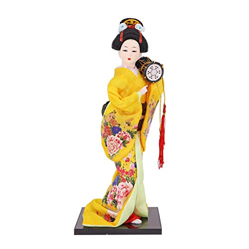 "Japanese Geisha Kimono Doll - 12 Inches Asian Geisha Collectible Figurine Decoration or Gift (Orange-JDE0012-5, 12"")"