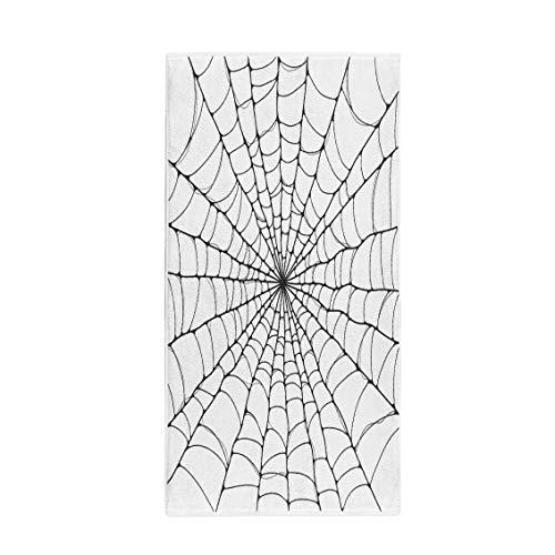 (Pinbeam Bath Towel Halloween Spider Cartoon Black White Celebration Hanging Netting Towel Beach)