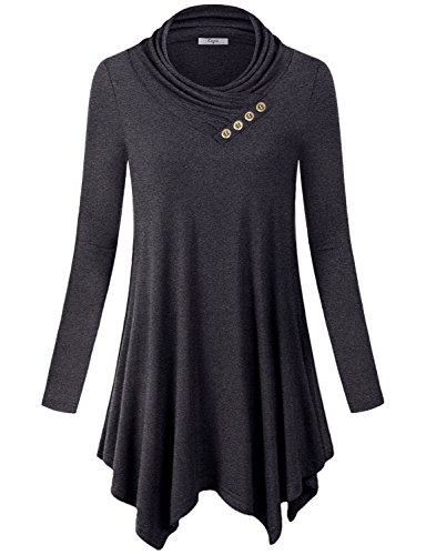 Cestyle Maternity Tunic Tops, Long Sleeve Cowl Neck Casual Juniors Sweatshirt Sweater Shirt Dress Carbon Black X Large