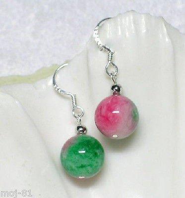 Color Earrings Multi Jade (New Pair 10MM Natural Multicolor Jade Round Beads Silver Hook Dangle Earrings)