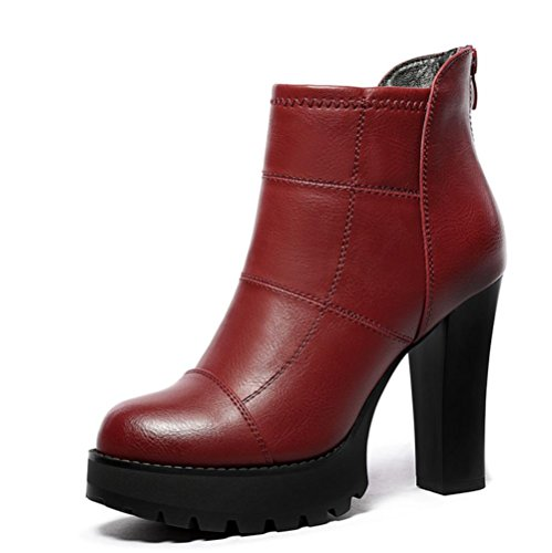Best Ankle Toe Chunky Round Sole Fall Winter Booties Boots Black PU Boots 4U Women's Heel Red Material Shoes Rubber 4Zqr4w