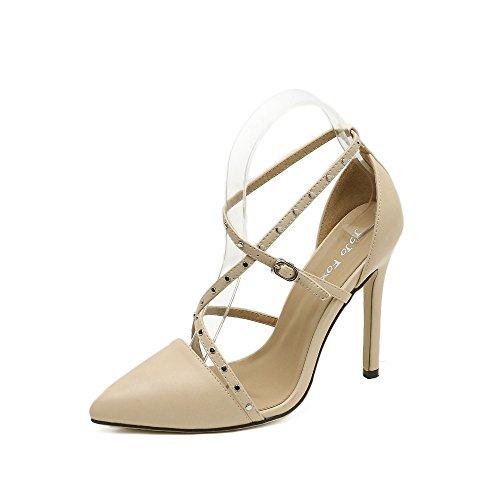 tacón zapatos los alto punta nuevo black con de ZHZNVX fina huecos El remache pT8X6ZW