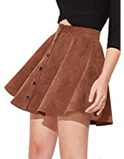 SheIn Women's Button Up Flare A-Line Corduroy Skater Cord Short Skirt