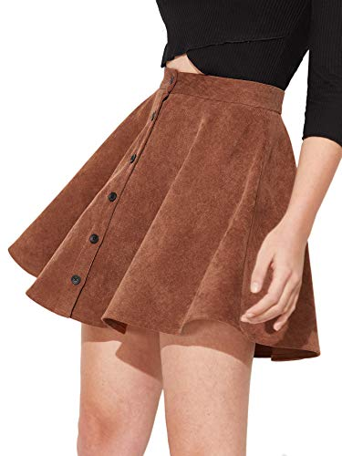 (SheIn Women's Button Up Flare A-Line Corduroy Skater Cord Short Skirt Brown )