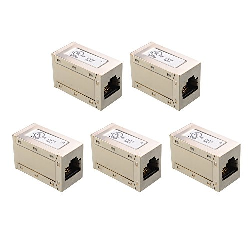 [UL Listed] Cable Matters (5 Pack) RJ45 Shielded Metal Cat6 In-Line Couplers in Silver
