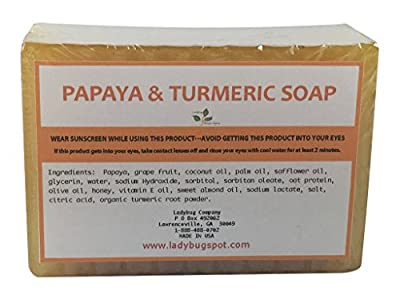 Natural Handmade Papaya Turmeric Skin Lightening Soap for Acne Scars, Age Spot, Liver Spot