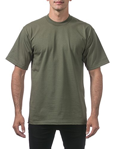 (Pro Club Men's Heavyweight Cotton Short Sleeve Crew Neck T-Shirt, 2X-Large, Olive )