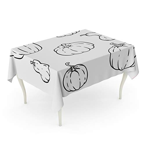Tarolo Rectangle Tablecloth 60 x 90 Inch Autumn Collection of Outline Pumpkins Gourds Different Types Shapes and Sizes for Halloween Thanksgiving Day Coloring Table Cloth -