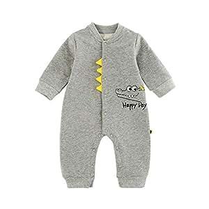 ALLAIBB Infant Babies Autumn&Spring Long Sleeve Romper Cartoon Crocodile Cotton Jumpsuit