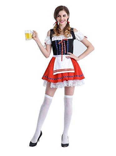 Weimisi Women's Oktoberfest Costume Renaissance Halloween German Beer Maid Costume Red (M) (Beer Maid Costumes)